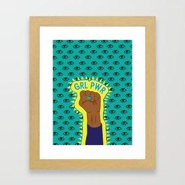 Girl Power Fist on Eye Pattern Background Framed Art Print