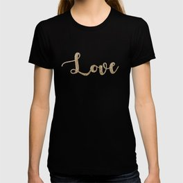 love gold glitter on black T-shirt