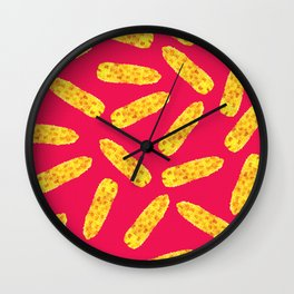 Funny Cute Hand Drawn Corn on the Cob on Neon PInk Wall Clock