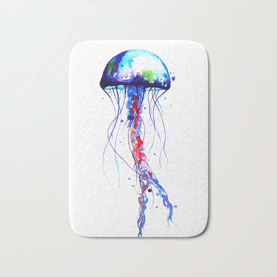 Jellyfish blue Bath Mat