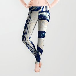 Blue Oriental Vintage Tile 03 Leggings