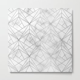 Geometric Silver Pattern on Marble Texture Metal Print