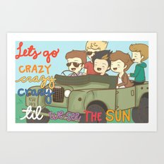 One Direction Live Like We're Young Cartoon Art Print