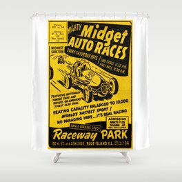 Midget Auto Races, Race poster, vintage poster Shower Curtain