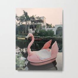 Flamingo Boat in Venice Metal Print