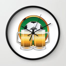 Beer glasses and Soccer Ball in green circle Wall Clock