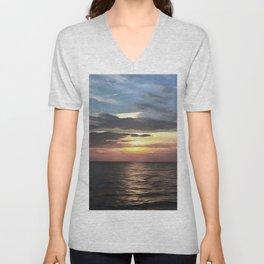 Pefect Living Coral Colored Ocean Sunrise Unisex V-Neck