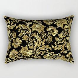 Black & Shiny Gold Vintage Floral Damasks Rectangular Pillow