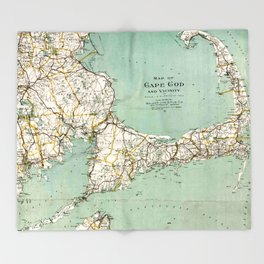 Cap Cod and Vicinity Map Throw Blanket