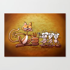 Cat Choosing a Mouse by Drawing the Short Straw Canvas Print