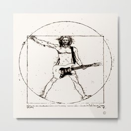 Guitar Man and Da Vinci Metal Print