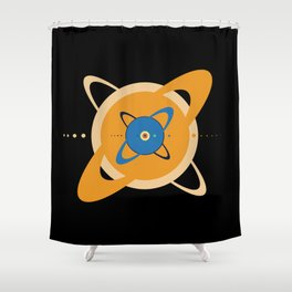 Solar System To Scale - Concentric Shower Curtain
