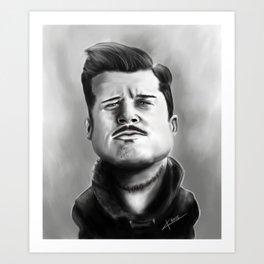 Bred Pitt Caricature Art Print