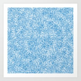 Blue Chrysanthemum Leaves Art Print