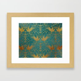 """Turquoise and Gold Paradise Birds"" Framed Art Print"