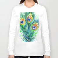 peacock feather Long Sleeve T-shirts featuring Peacock feather  by Slaveika Aladjova