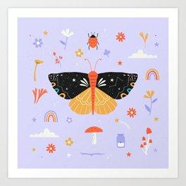 Magic butterfly Pattern Art Print
