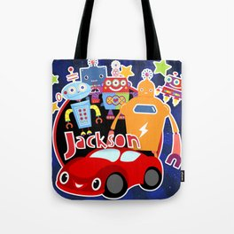 Jax-Red Car + Robots Tote Bag