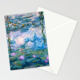 Water Lilies Monet Teal Stationery Cards