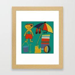 Cat pirate at the beach green Framed Art Print