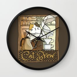 Cat Brew Wall Clock