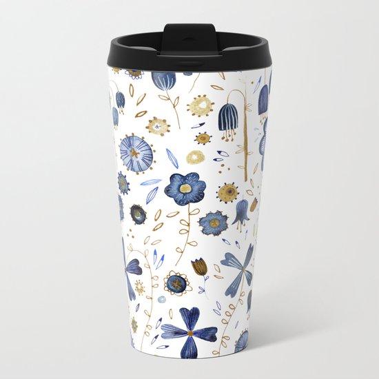 Indigo Flower Mashup Metal Travel Mug