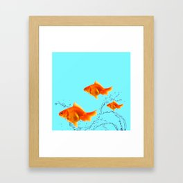 THREE GOLDFISH IN AQUA WATER ABSTRACT ART Framed Art Print