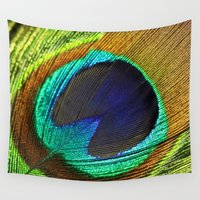 feathers Wall Tapestries featuring feathers by mark ashkenazi