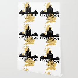 LIVERPOOL ENGLAND SILHOUETTE SKYLINE MAP ART Wallpaper