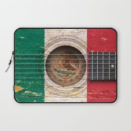 Old Vintage Acoustic Guitar with Mexican Flag Laptop Sleeve