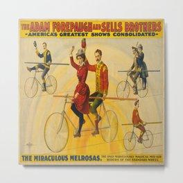 Vintage poster - Circus Bicycle Tightrope Act Metal Print