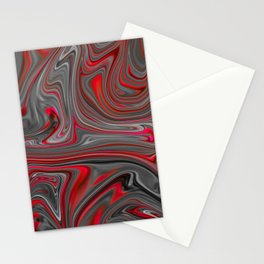 Red and Gray Liquid Marble Swirling Pattern Texture Artwork #4 Stationery Cards