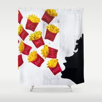french fries Shower Curtains featuring Oh fries by Drica Lobo Art