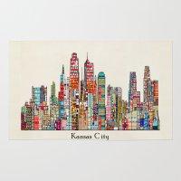kansas city Area & Throw Rugs featuring kansas city Missouri skyline by bri.buckley