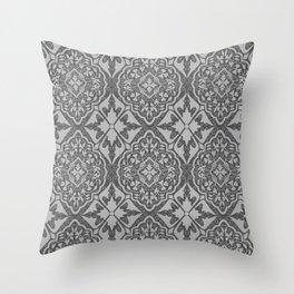 BOHEMIAN PALACE, ORNATE DAMASK: GRAY on GRAY Throw Pillow
