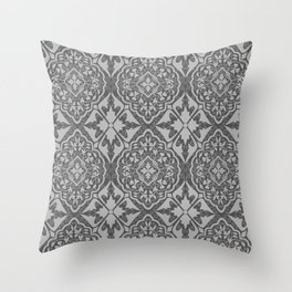 BOHEMIAN PALACE, ORNATE DAMASK: GRAY on GRAY Throw Pillow