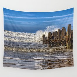 White horse on walcott beach Wall Tapestry