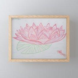 Lotus et poisson rouge - Lotus & red fish Framed Mini Art Print