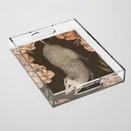 The Opossum and Peonies Acrylic Tray