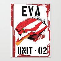 evangelion Canvas Prints featuring Evangelion Unit 02 by Savinity