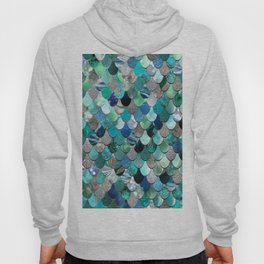 Mermaid Sea, Teal, Aqua, Silver, Grey Hoody