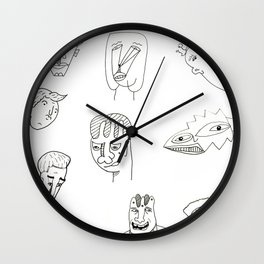 Cartoon character design print with monster people Wall Clock