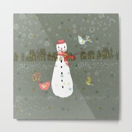 Cute Christmas Snowman & Birds Winter Scene Metal Print