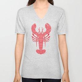 Tribal Maine Lobster on White Unisex V-Neck