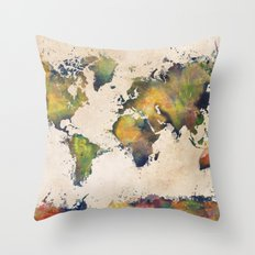 World Map green splash Throw Pillow
