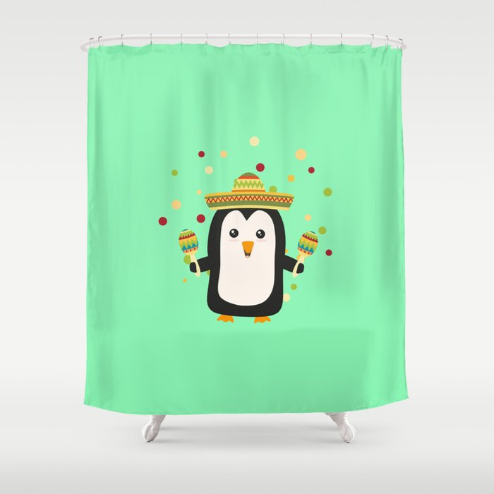 Penguin Mexico Fiesta T Shirt For All Ages Dz87f Shower Curtain