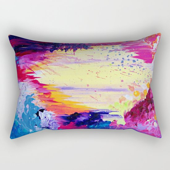 IN TIMES OF CHAOS - Intense Nature Abstract Acrylic Painting Wild Rainbow Volcano Waves Fine Art  Rectangular Pillow