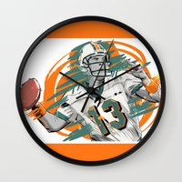 nfl Wall Clocks featuring NFL Legends: Dan Marino - Miami Dolphins by Akyanyme