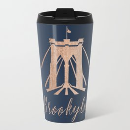 Rosegold on Navy Brooklyn Bridge Travel Mug