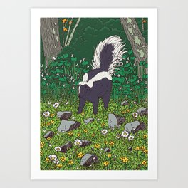 Skunk & Buttercup Art Print